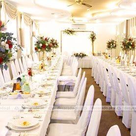 Jesienne barwy, złote dodatki – dekoracja stołów w Hotelu Ossowskim