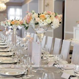 Dworek Róża Poraja – dekoracja ślubna stołu