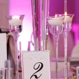 Dekoracja ślubna ze srebrnymi dodatkami – Pałac Wąsowo