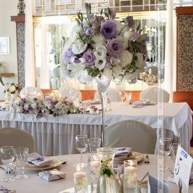 Dekoracja sali – romantyczne fiolety – Hotel Glamour Przeźmierowo