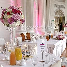 Pałac w Rydzynie – dekoracja ślubna w kolorze amarantu