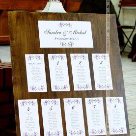Wystrój sali w stylu vintage- table plan na desce – Gościniec Marzymięta