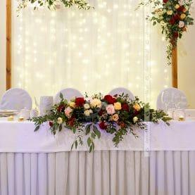 Dekoracja za stołem prezydialnym – naturalna dekoracja, boho, vintage, rustic – Hotel Ossowski
