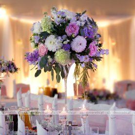 Fiolet-róż-zieleń – pastelowe kolory w dekoracji sali