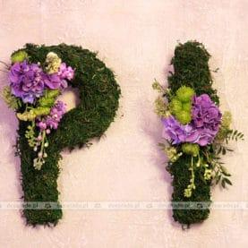 Kwiatowe inicjały Pary Młodej