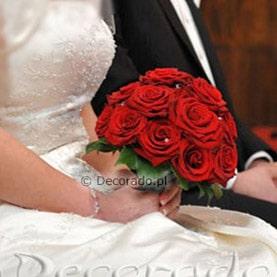 Wiązanka ślubna w czerwieni