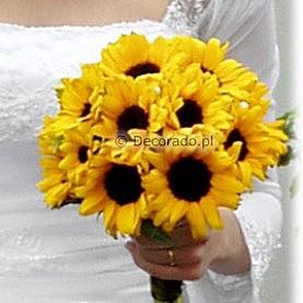Słoneczniki w ślubnym bukiecie