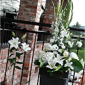 Eleganckie białe kwiaty na tarasie Villa Natura