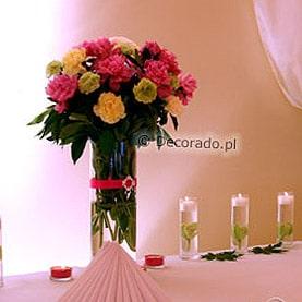 Dekoracja stołu bankietowego – kwiaty i światła – Pałac w Wąsowie – namiot