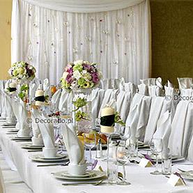 Dekoracja ślubna sali w Lake Hotelu w Dymaczewie