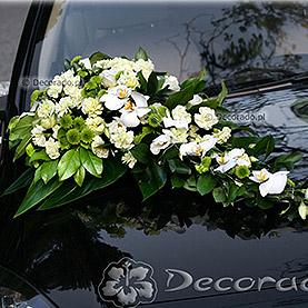 """Dekoracja samochodu """"Zieleń i biel"""""""