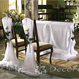 Dekoracja krzeseł Pary Młodej – kościół w Swarzędzu