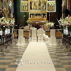 Dekoracja Katedry Poznańskiej – Kwiatowa alejka – biel i róż