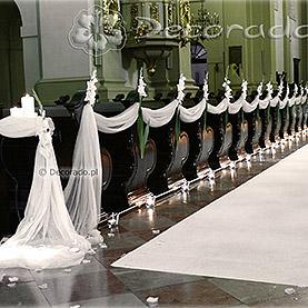 Ślubna dekoracja – biała gladiola – kościół św. Józefa