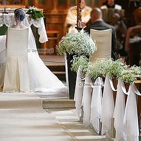 Dekoracja ślubna z gipsówką – kościół w Granowie