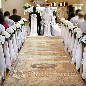 Dekoracja ślubna z białych hortensji – Kościół w Imielnie