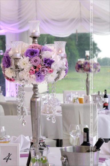 Kandelabry, kwiaty, kryształy – elegancka dekoracja ślubna -Rezydencja Solei