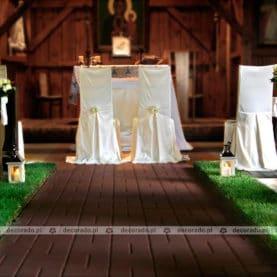 Dekoracja ślubna z żywą trawą